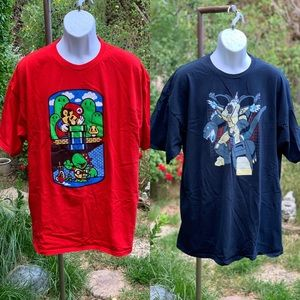 SOLD lot of 2 TEEFURY Mario GodZilla T-Shirts XXL